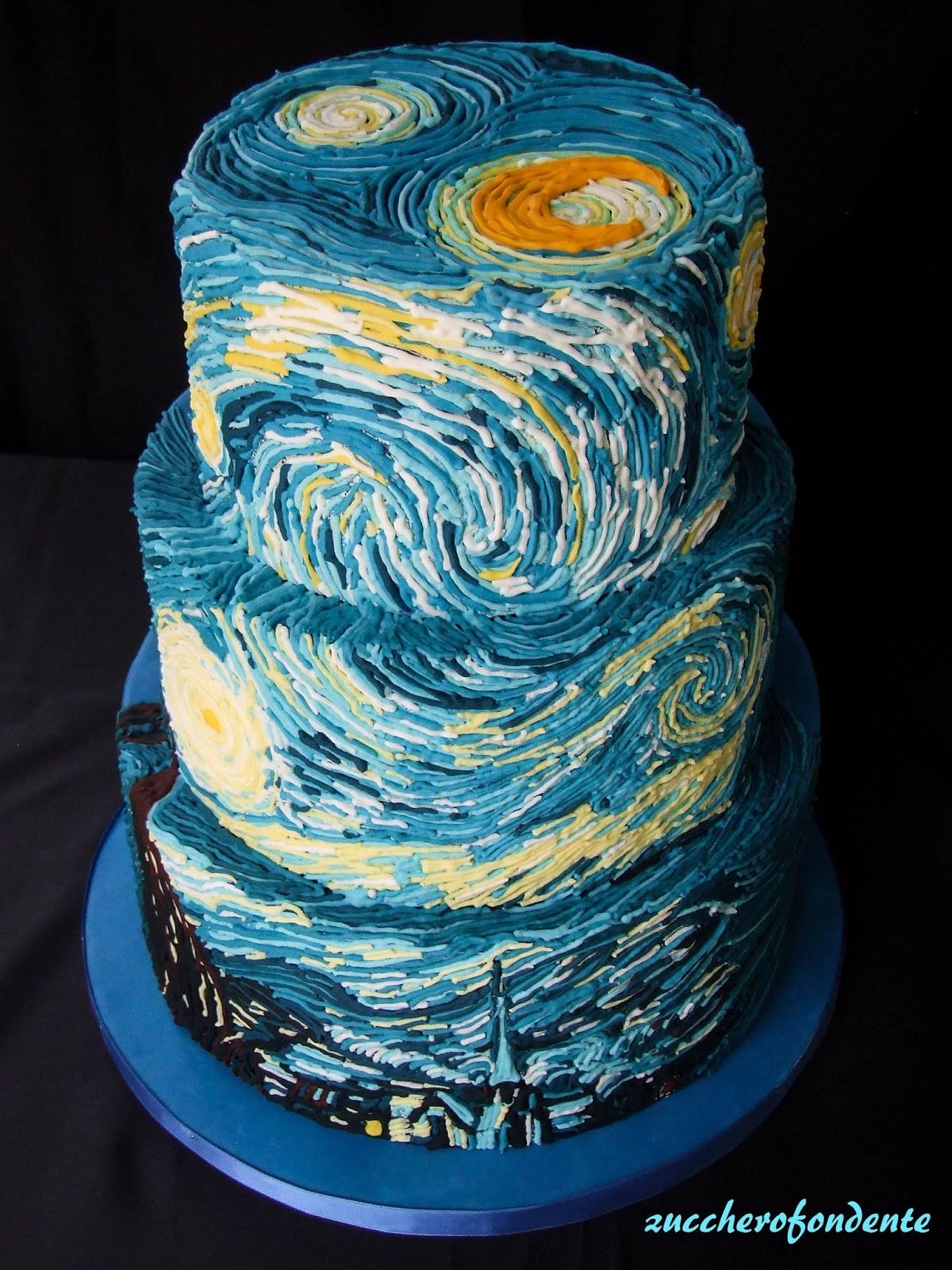 Zuccherofondente van gogh cake for La notte stellata vincent van gogh