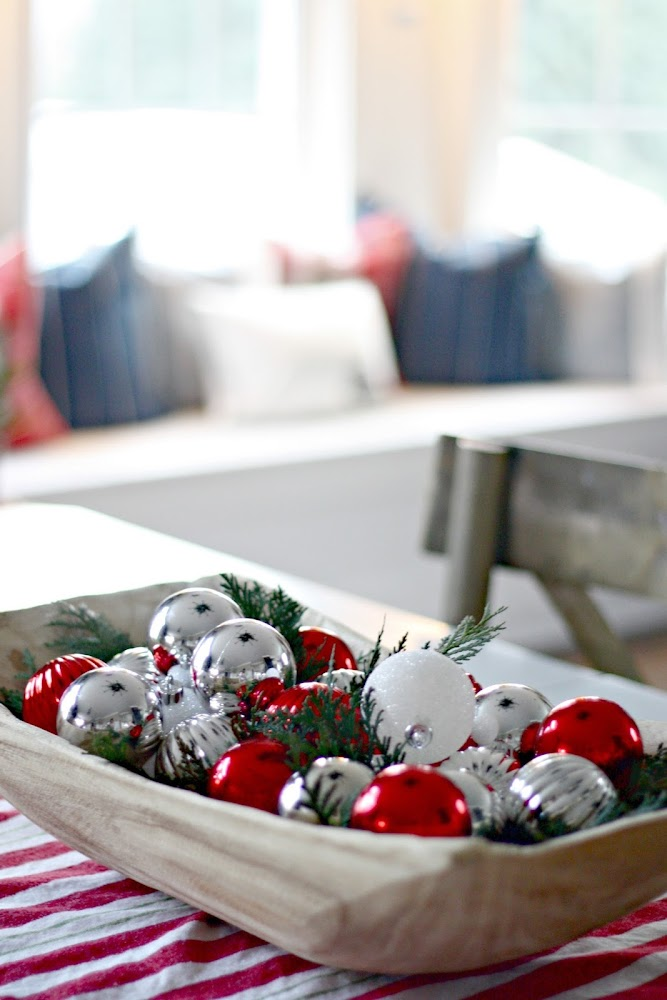 easy Christmas decor with ornaments