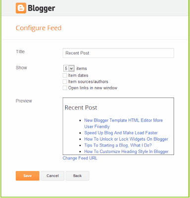 feed widget recent post blogger