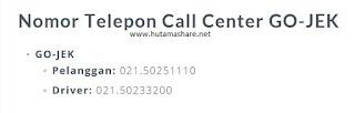 nomor kontak hp tlp telepon call center gojek driver pelanggan pengguna