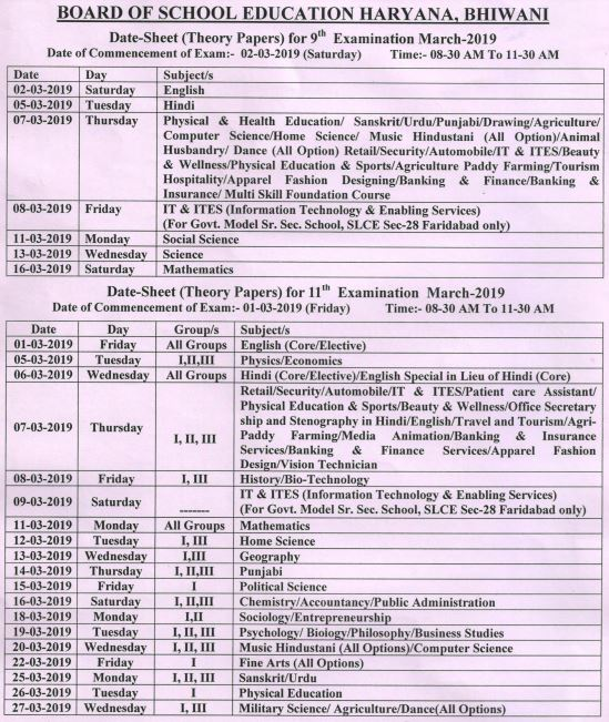 image : HBSE 9th & 11th Date Sheet March 2019 @ Haryana-Education-News.com