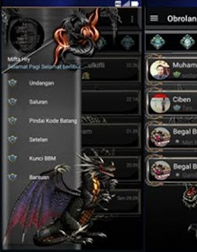 BBM Mod Darknes Dragon Style Theme versi 3.2.0.6 Apk