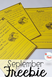 FREE differentiated reading passages for apples- September Activities and primary resources plus three FREEBIES- fun ELA, math, and social studies activities for students during the month of September