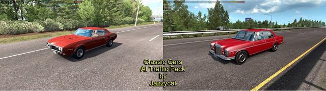 ats classic cars ai traffic pack v3.4 screenshots 1, Pontiac Firebird '68, Mercedes-Benz 300SEL '72