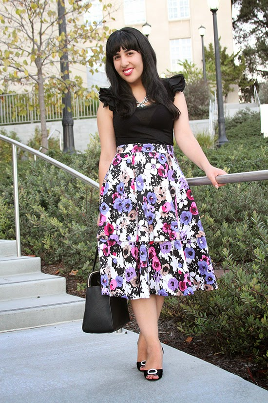 Two-in-one Floral Midi Skirt Fashion Blogger