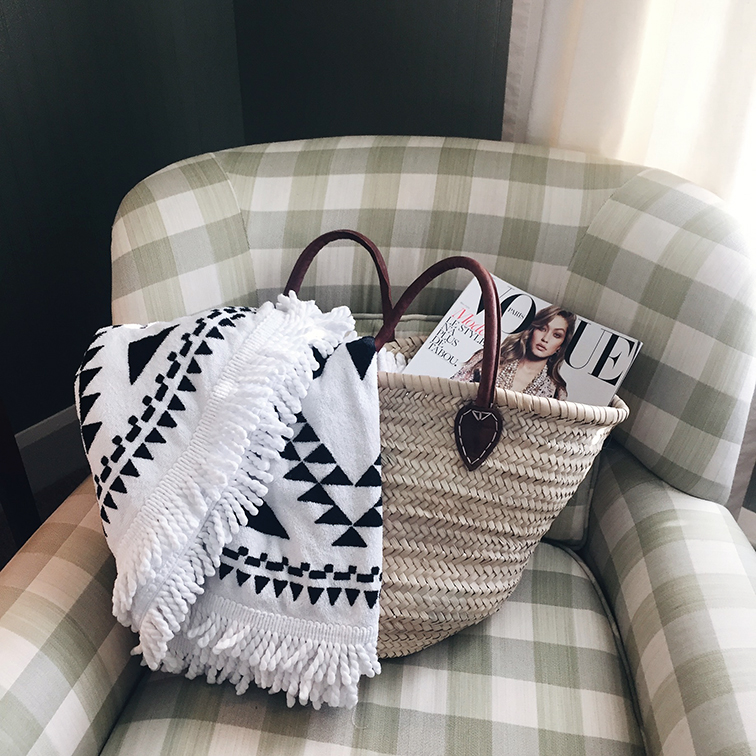 Hob Knob Luxury Boutique Hotel, Martha's Vineyard, Edgartown, Kaufman Mercantile bag, We Are Summer round beach towel