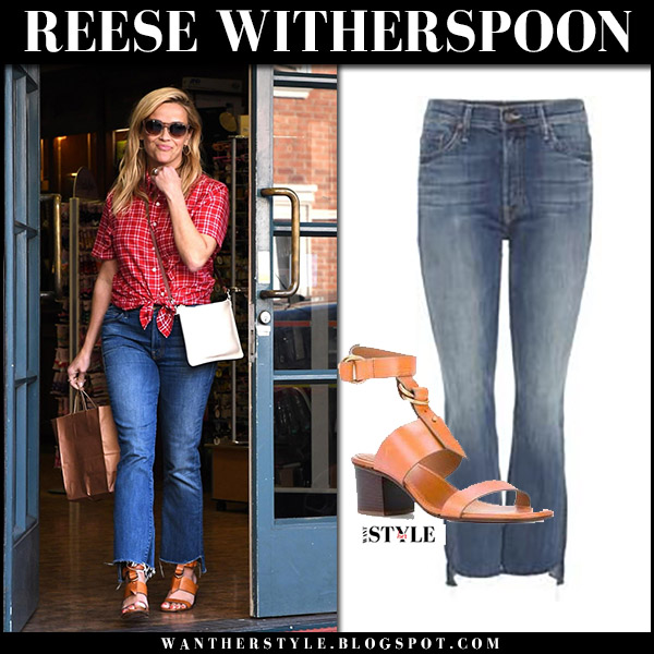 Reese Witherspoon in red plaid shirt, cropped jeans mother insider and leather sandals chloe kingsley august 25 2017 street fashion
