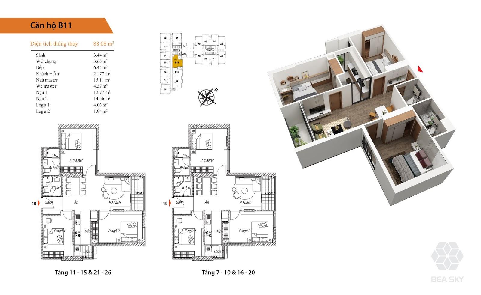 Thiết kế căn B11 chung cư Bea sky nguyễn xiển