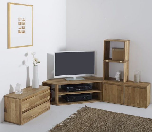 Modern Corner Tv Units For Living Room With Wooden Storage