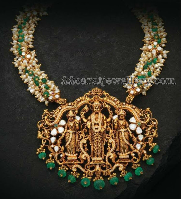 Rice Pearls Set with Nakshi Pendant