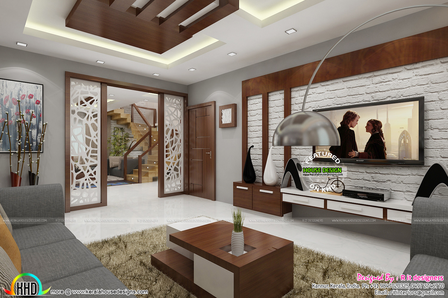 Posh living room interior - Kerala home design and floor plans