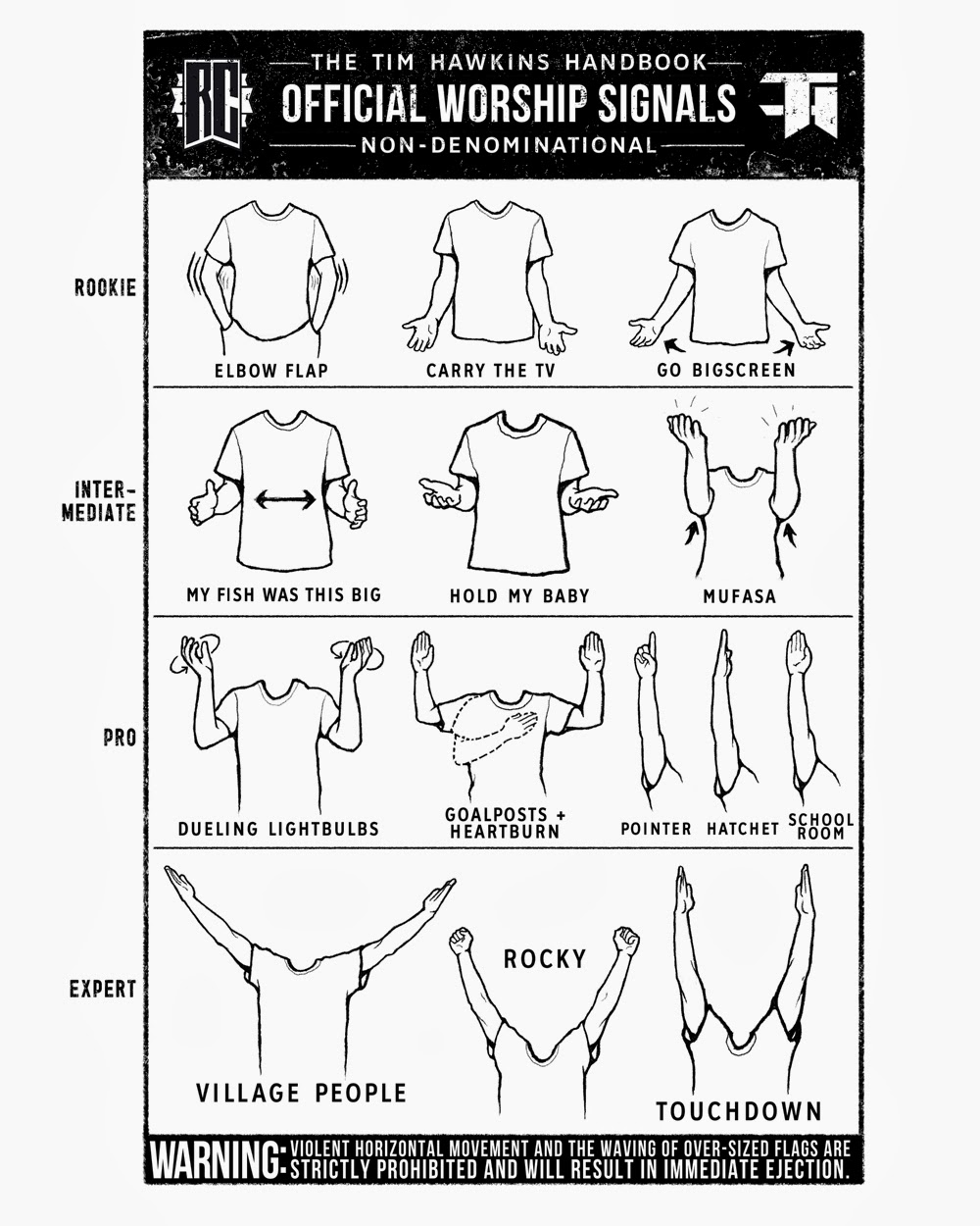 Funny Official Worship Signals - Tim Hawkins Handbook - Non-denominational