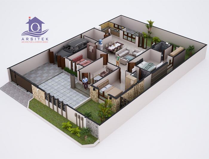 Denah 3D Rumah Minimalis