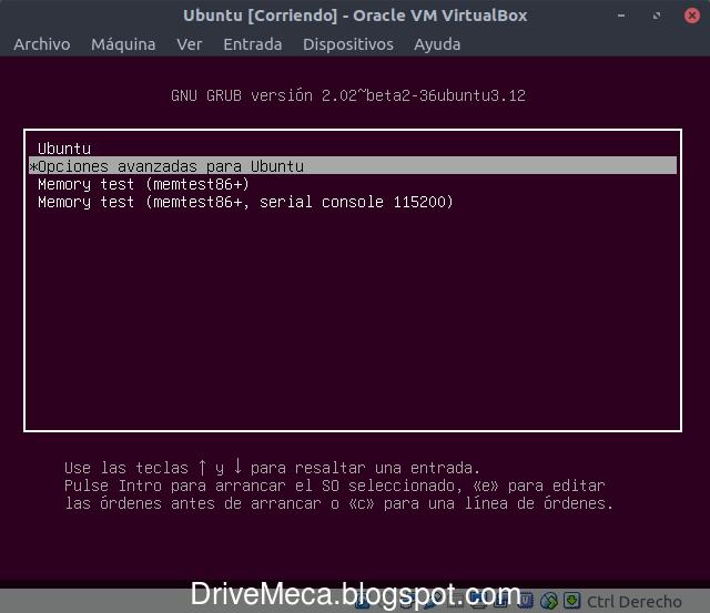 Ingresando al menu grub en linux ubuntu
