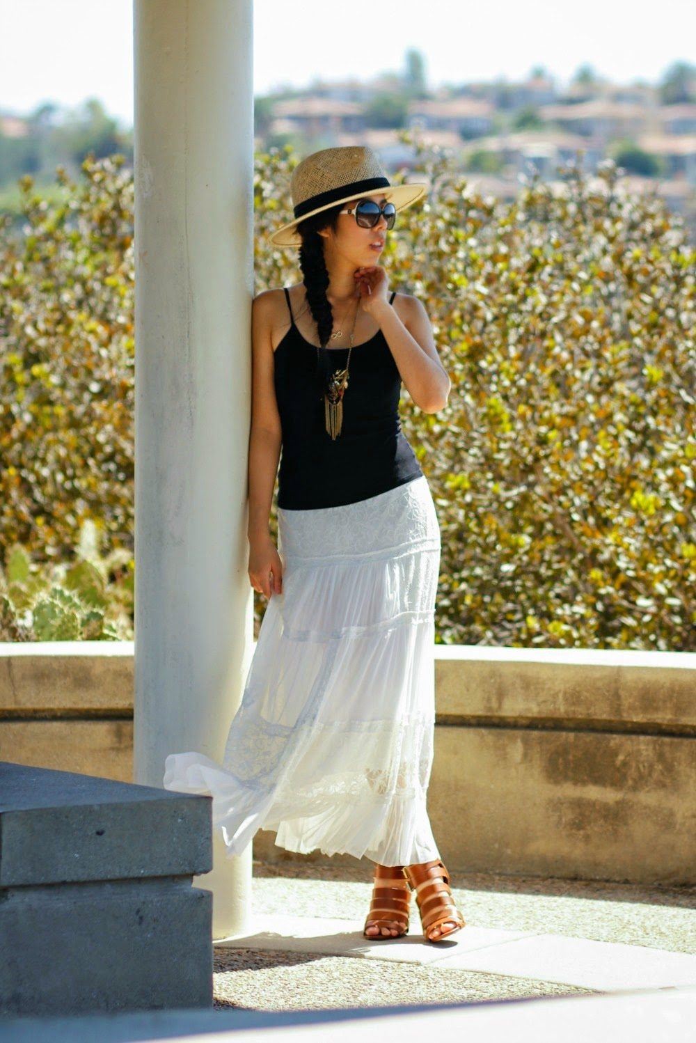 Simple Black Top and White Skirt Outfit - White Lace Skirt - Adrienne Nguyen