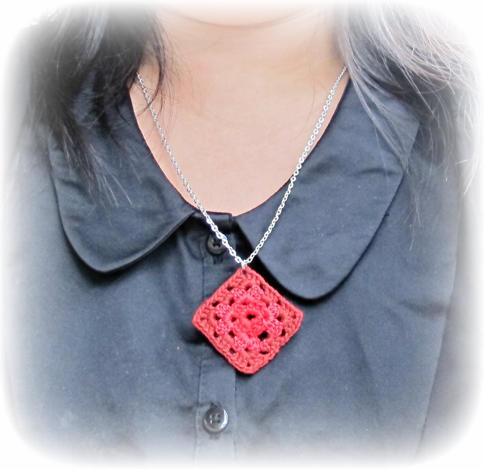 image granny square necklace red ombre embroidery floss chic jewellery jewelry