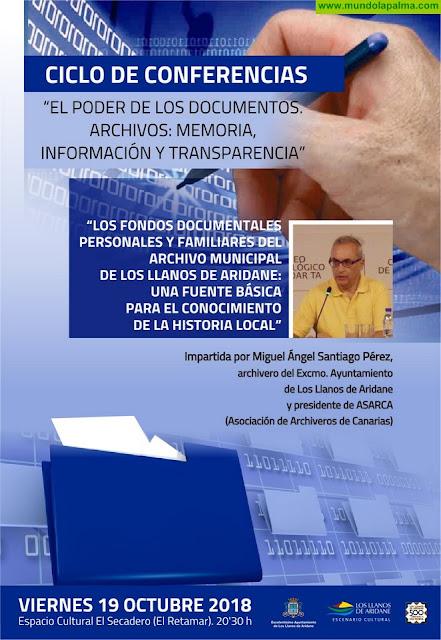 Miguel Ángel Santiago imparte este viernes una conferencia sobre el poder de los documentos y la archivística en Los Llanos de Aridane