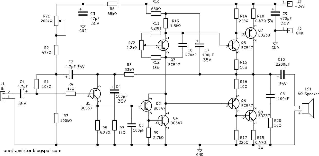 10w stereo audio amplifier with transistors schematic [ 1311 x 642 Pixel ]