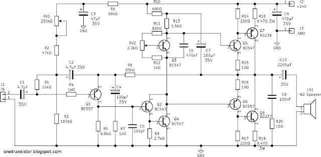 10W Stereo Audio Amplifier with Transistors schematic