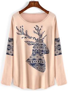 Camiseta con dibujo de ciervo