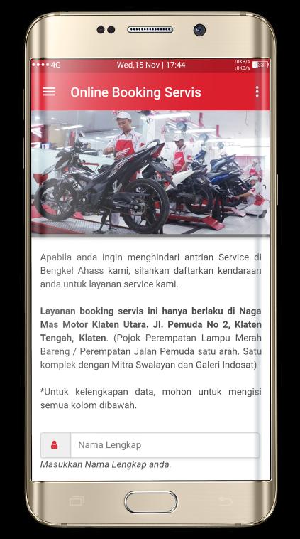 Aplikasi Formulit Online Booking Servis Sepeda Motor Asli Astra Honda Naga Mas Motor Klaten Boyolali Sukoharjo Surakarta Wonogiri Karanganyar Sragen Jawa Tengah