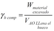 fórmula de densidad húmeda compatada