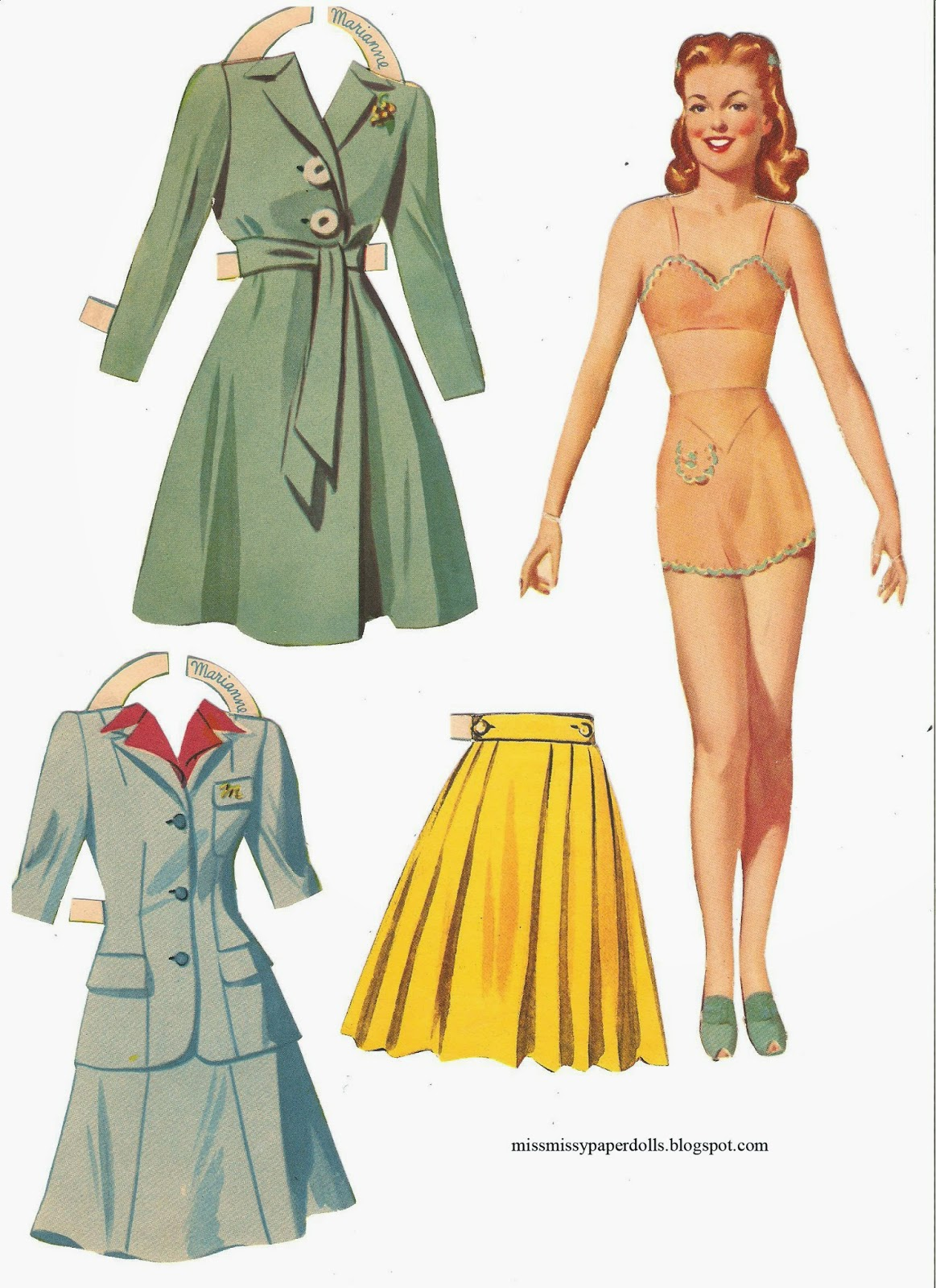 62370cfa17f Marianne and Betty Sue. These go with Babs and Shirley in the Boarding  School Paper doll ...