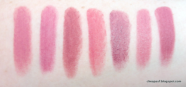 Swatches of Bite Multistick in Macaroon, Maybelline Creamy Matte in Lust for Blush, Maybelline Creamy Matte in Touch of Spice, Wet N Wild Megalast Lipstick in Rose-bud, Urban Decay Revolution Lipstick in Rapture, L'Oreal La Laque in Choco-laque, and Tom Ford Pussycat