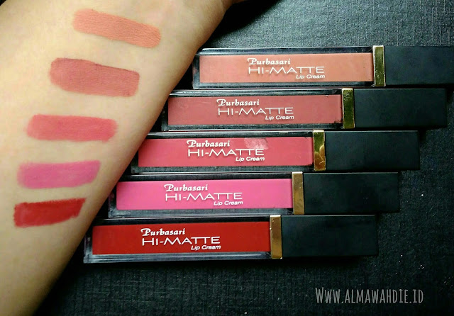 Purbasari Hi-Matte Lip cream review lengkap 5 warna hydra series