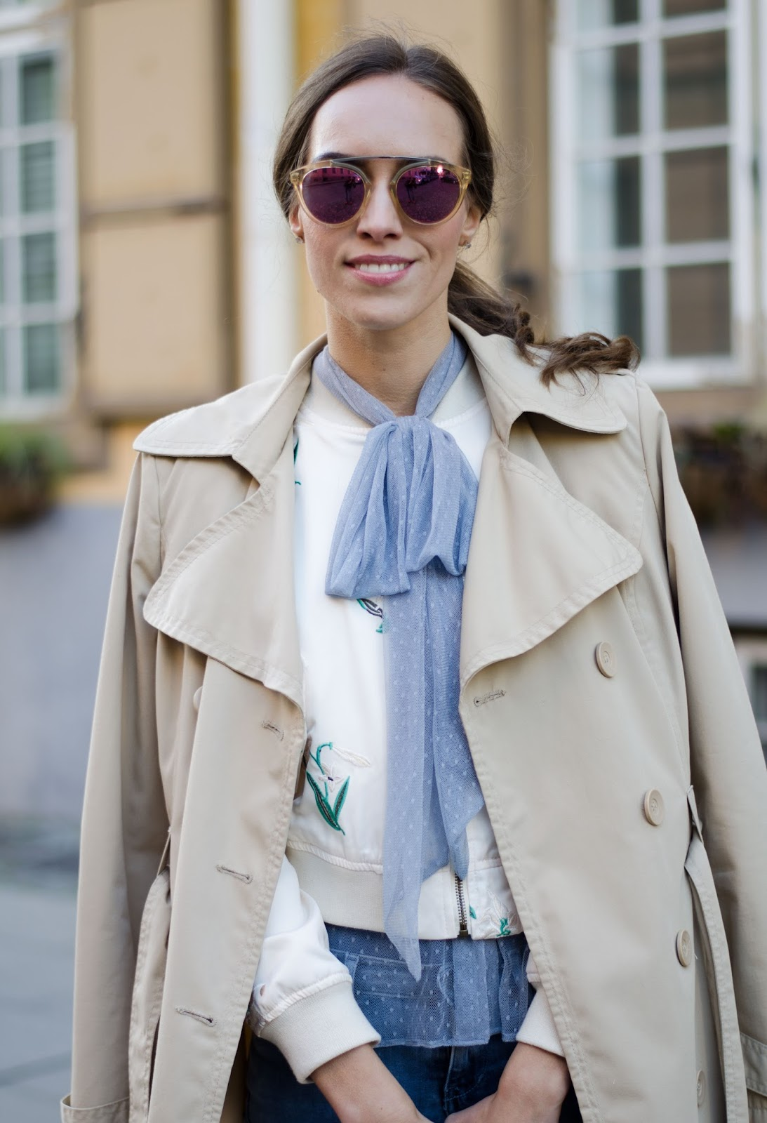 pussybow blouse bomber jacket trench coat outfit