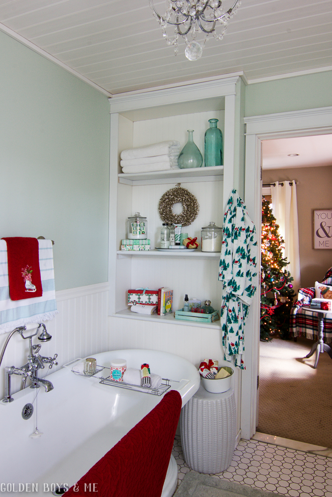 Christmas Master Bathroom built-ins - Golden Boys and Me Holiday Home Tour 2017