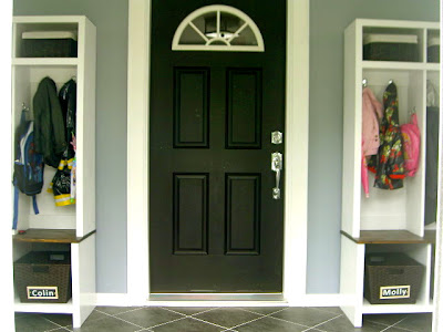 diy entryway cubbies flanking door