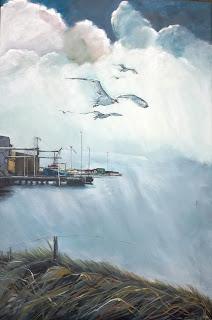 Hvide Sande, hav, måger, kunst gallery, gallerie, galleri, Ayoe, havn, habour, sea, ocean, clean wather, seagulls, fishingboat, fish, sky, contemporary,