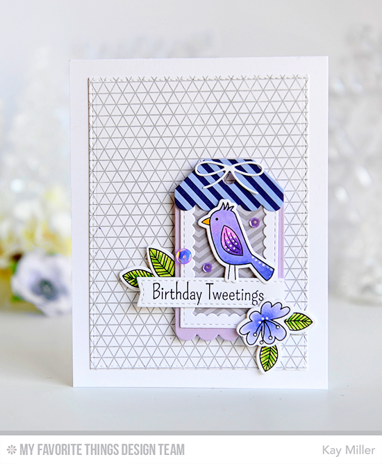 Birthday Tweetings Card by Kay Miller featuring the Blissful Blooms, Sweet Safari, and Tweet Friends stamp sets and Die-namics, the Geometric Grid Background stamp. and the Stitched Rectangle Scallop Frames, Blueprints 2, and Blueprints 26 Die-namics #mftstamps
