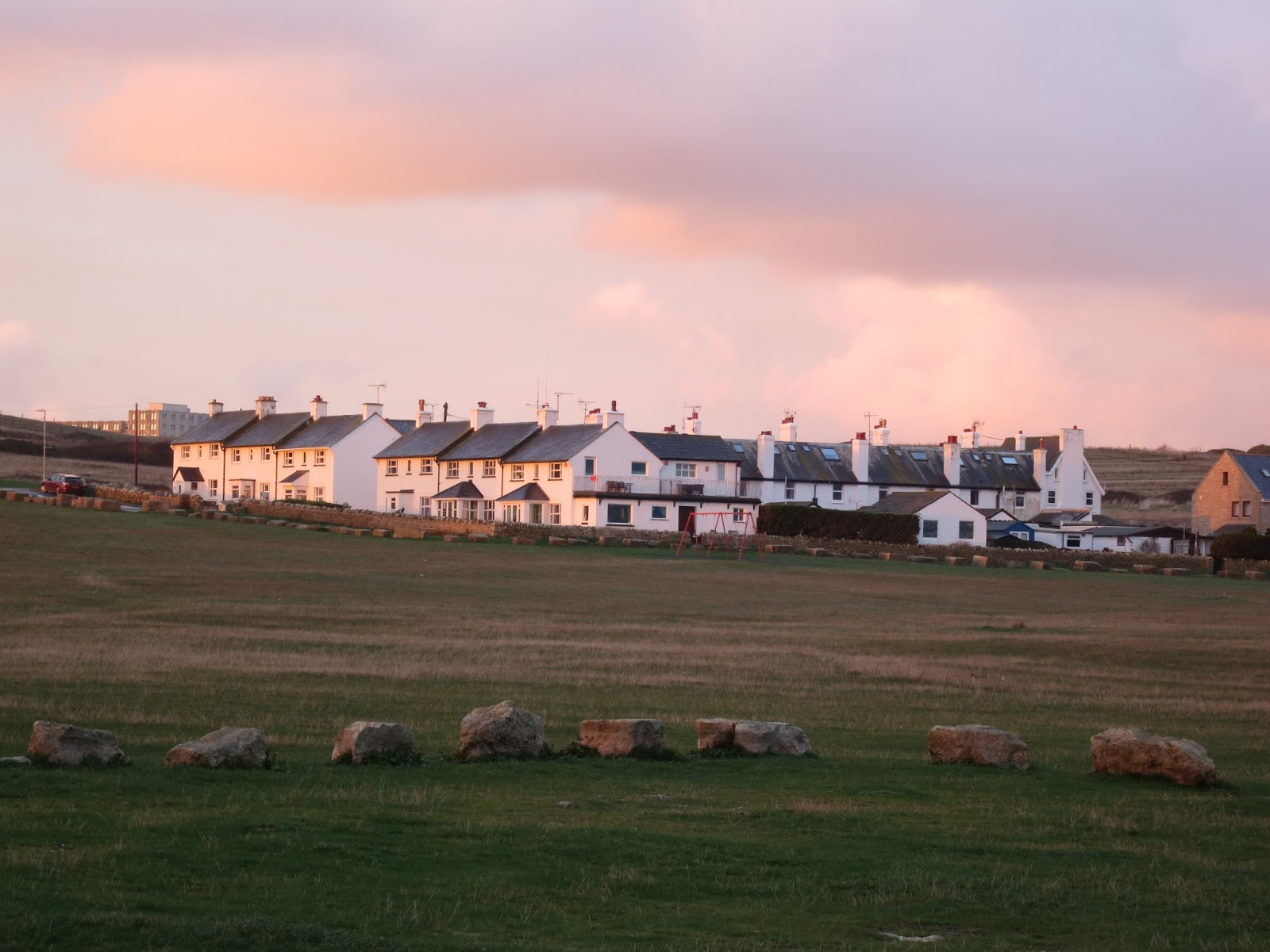 The tightly packed group of white houses at Portland Bill reflect evening light.