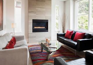 diseño sala moderna chimenea