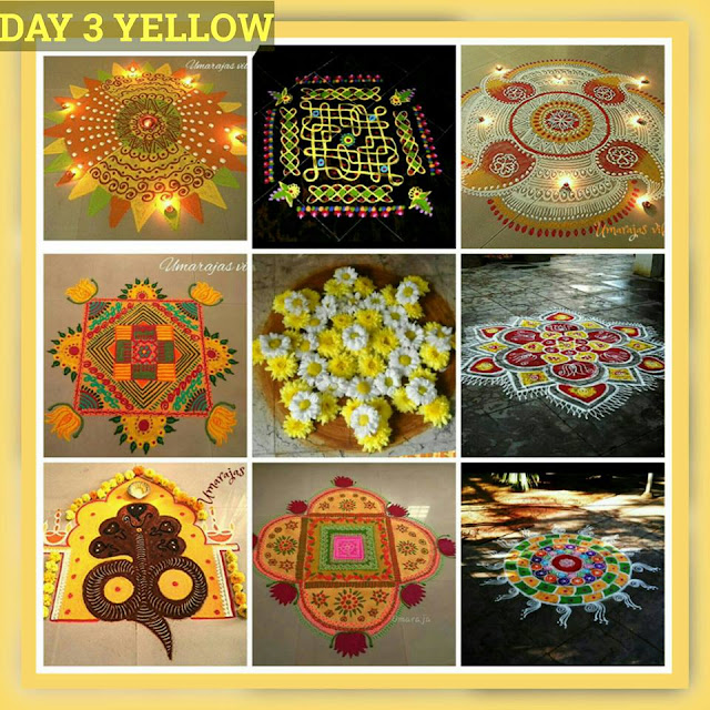 Navaratri Rangoli Day 3 - Yellow