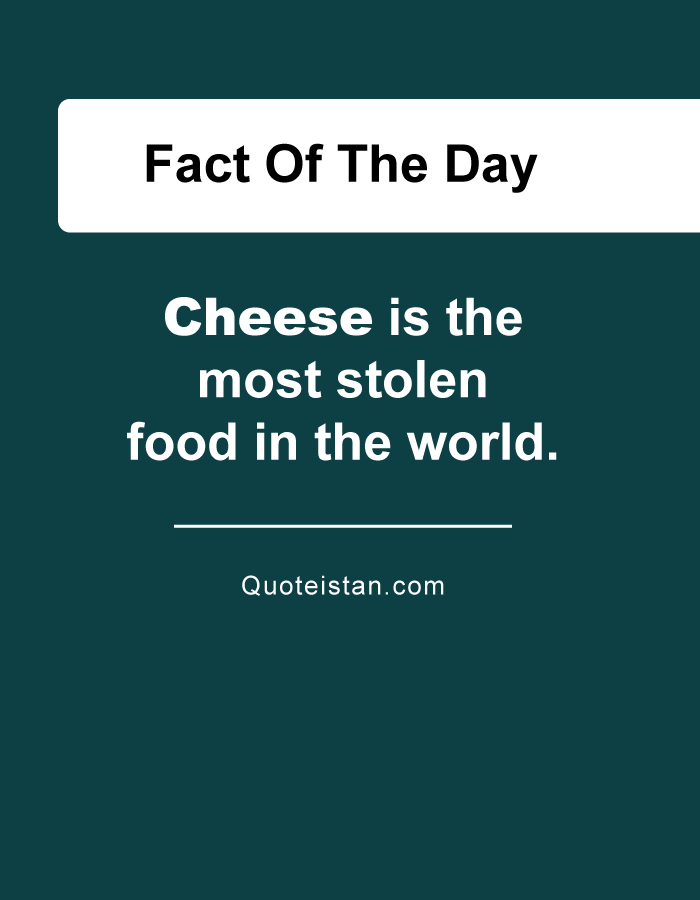 Cheese is the most stolen food in the world.