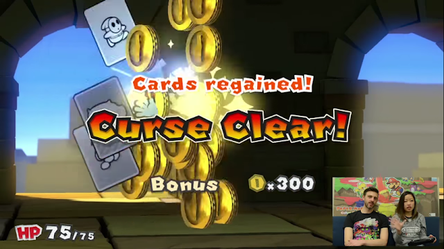 Paper Mario Color Splash Kamek card curse clear bonus battle