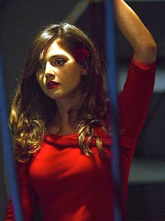 Dr Who, Asylum of the Daleks, Jenna-Louise Coleman in a Star Trek style red dress, Oswin