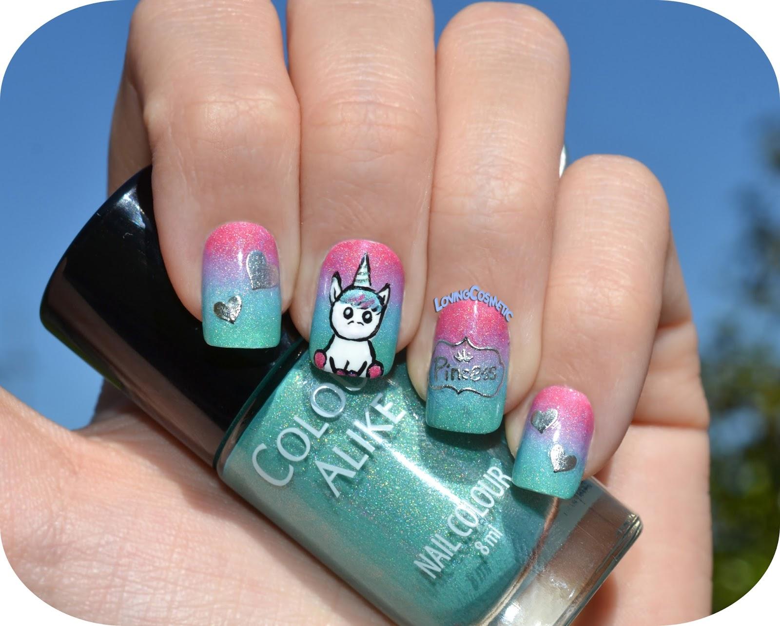 Nail art princess unicorn bornprettystore lovingcosmetic for Pagina de decoracion de unas