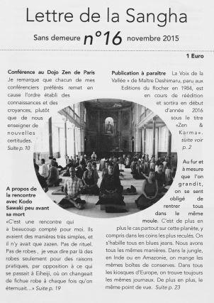 Front page of Lettre de la Sangha November 2015