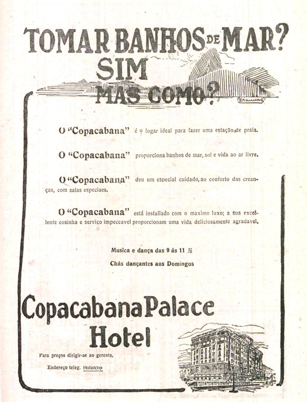 Propaganda do Copacabana Palace Hotel após seu lançamento em 1923