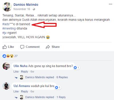 Status curhatan di facebook daniico, akun AdSensenya di banned