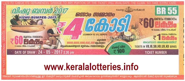 Kerala Lottery Result-Vishu Bumper-2017 on 24 MAy 2017