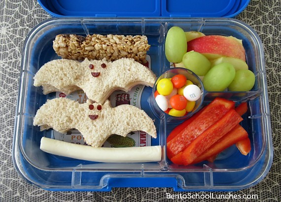 Bats Halloween bento lunch in Yumbox