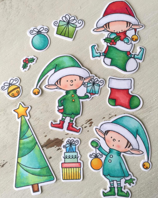 Birdie Brown Santa's Elves stamp set and Die-namics - Julene VanKleeck #mftstamps