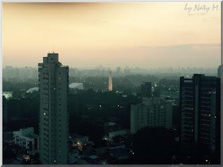 Foto da cidade de São Paulo mostrando o Obelisco do Ibirapuera ao entardecer