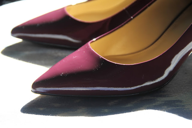 Michael Kors, purple, pointed toe pumps