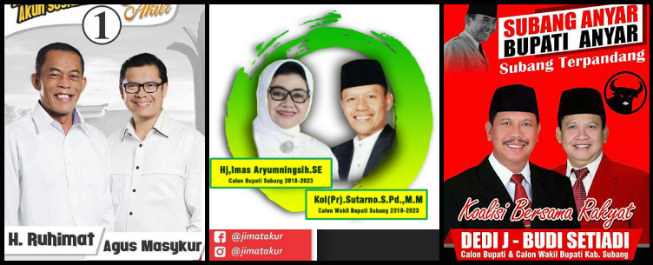 Tiga pasang calon Bupati dan wakil Bupati Kabupaten Subang 2018